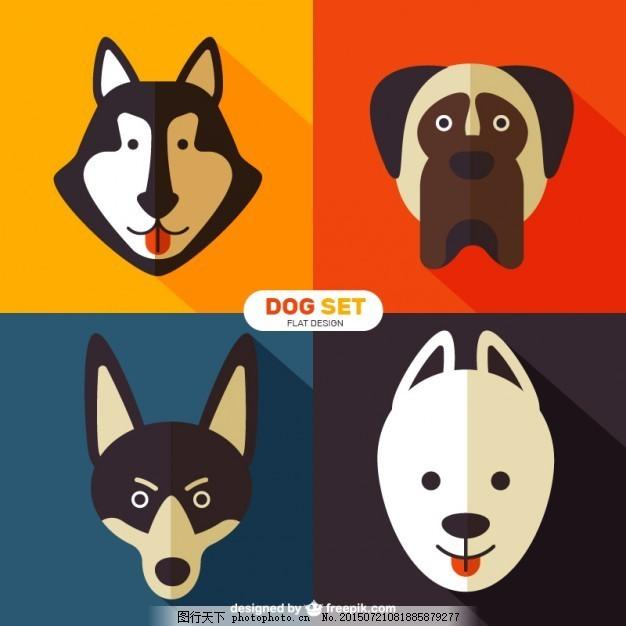 犬种的扁平式 房子的设计 狗 自然 动物 平 可爱 宠物 平面设计 可爱