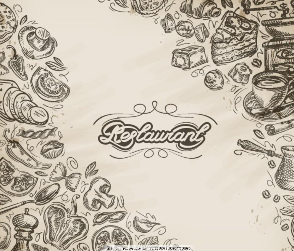 美食版画 黑白 手绘美食 美味食品 食品插画 食物 欧式美食 黑白绘画
