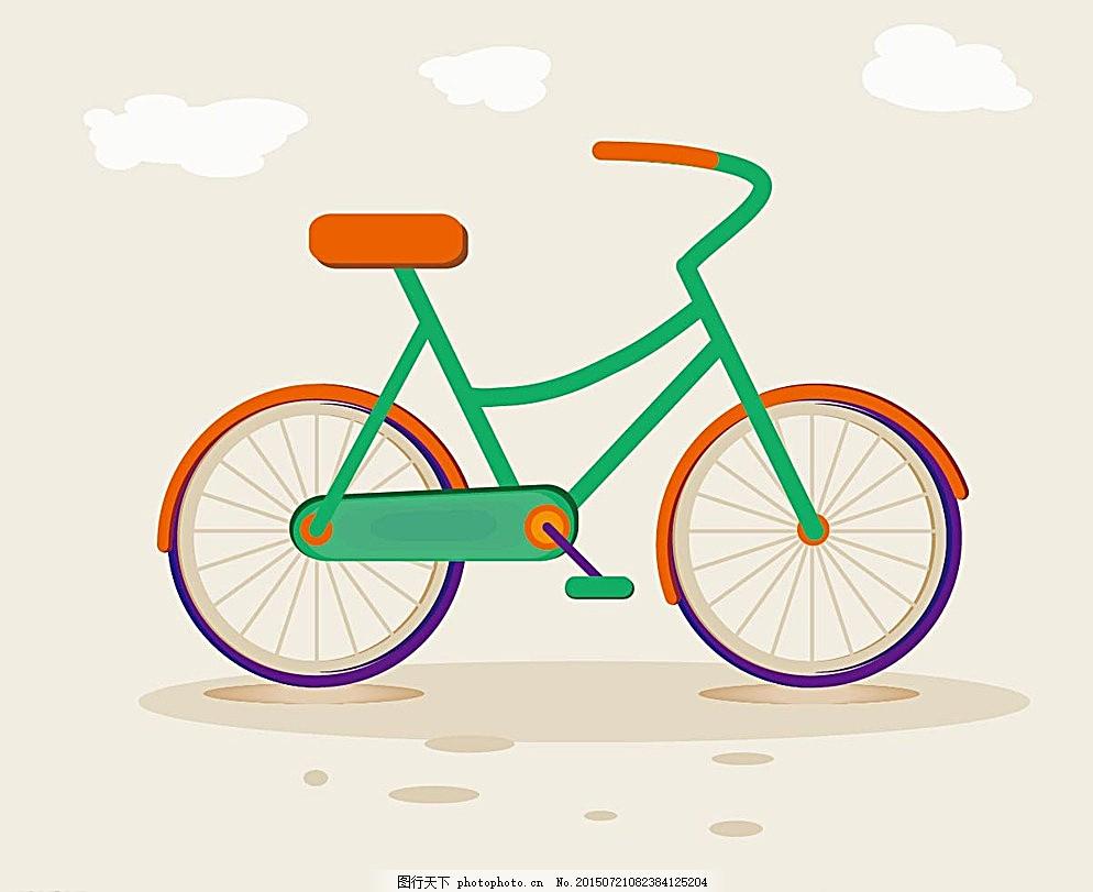 自行车 矢量 彩色 简约 组合 动漫动画 风景漫画 白色