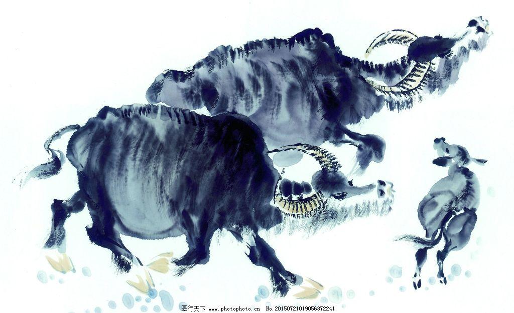 黑白 十二生肖 国画 手绘牛图片