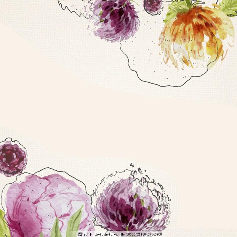 手绘花朵文艺背景图