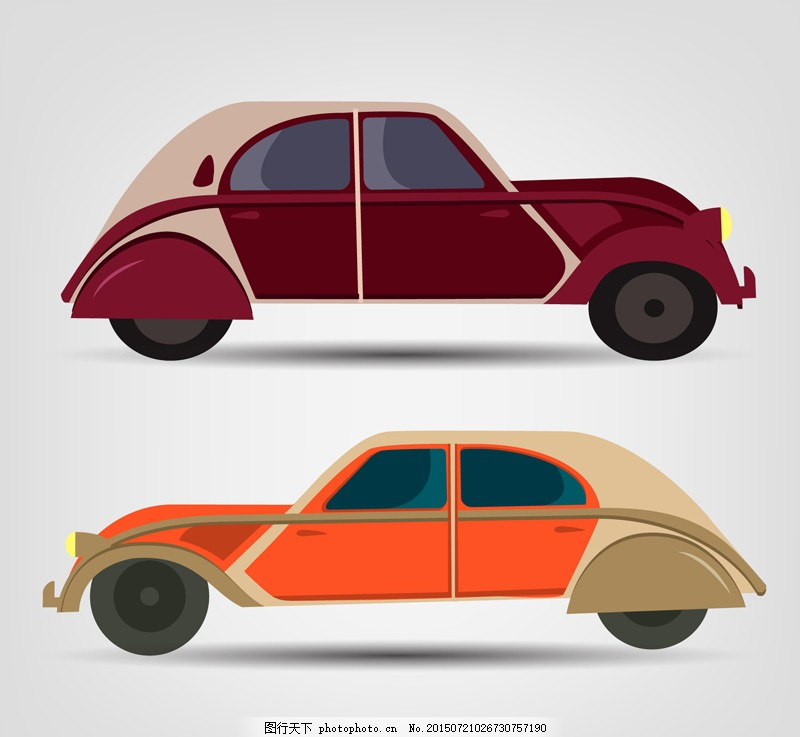 2款复古车辆设计矢量素材 交通工具 车 轿车 汽车 复古 复古汽车 复古