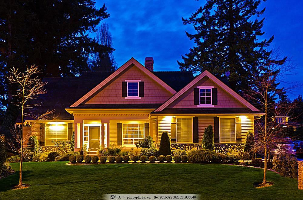 别墅夜景图 房屋效果图 住宅 建筑 地产 欧式建筑 其他类别 环境家居