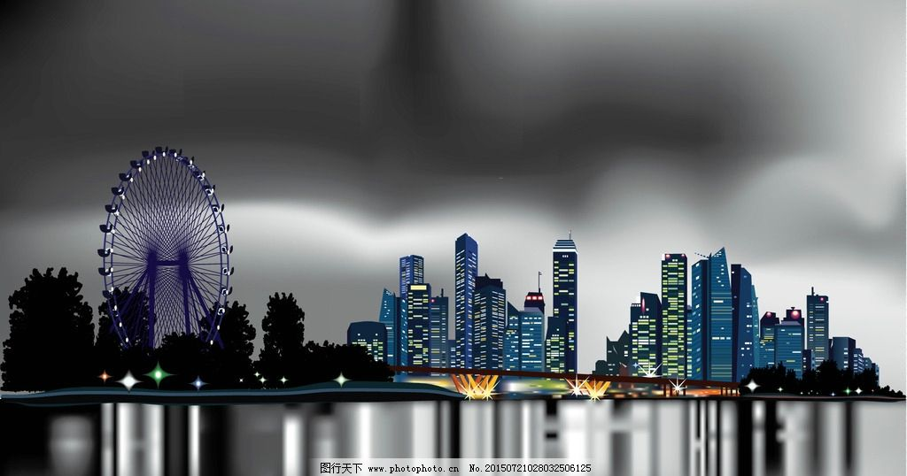 夜晚城市 城市夜景 城市建筑 都市夜晚 城市星空 城市全景 城市夜晚