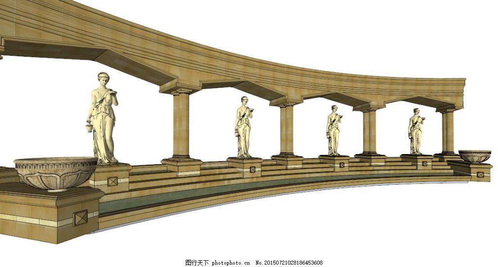 欧式廊架 木质 园林素材 园林景观 花架 古色 欧式 条形廊架 欧式园林