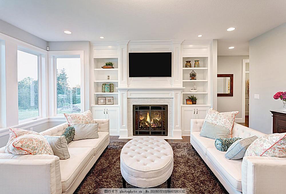 欧式客厅装修设计 壁炉 沙发 装饰 室内设计 环境家居 图片素材