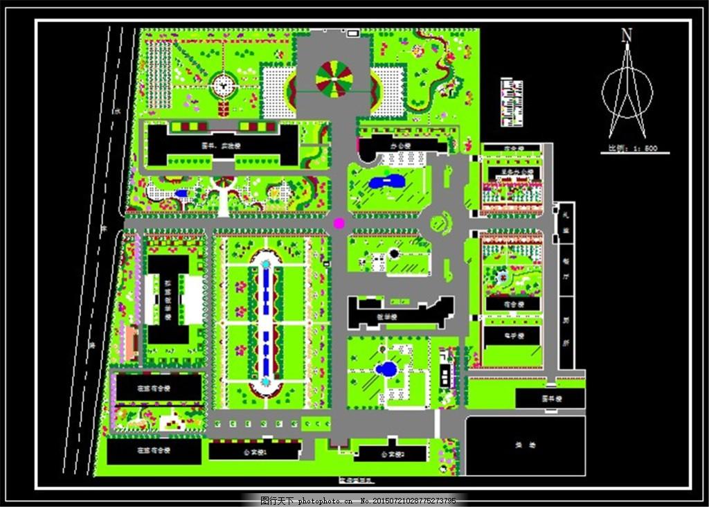 某大学校园规划平面图 模型 图纸 装修 装饰 施工图 剖面图 建筑设计图片