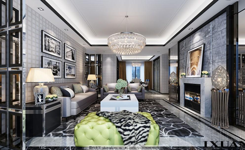 后现代客厅模型 黑白灰 金属质感 石材 不锈钢 拼花地砖 硬包图片