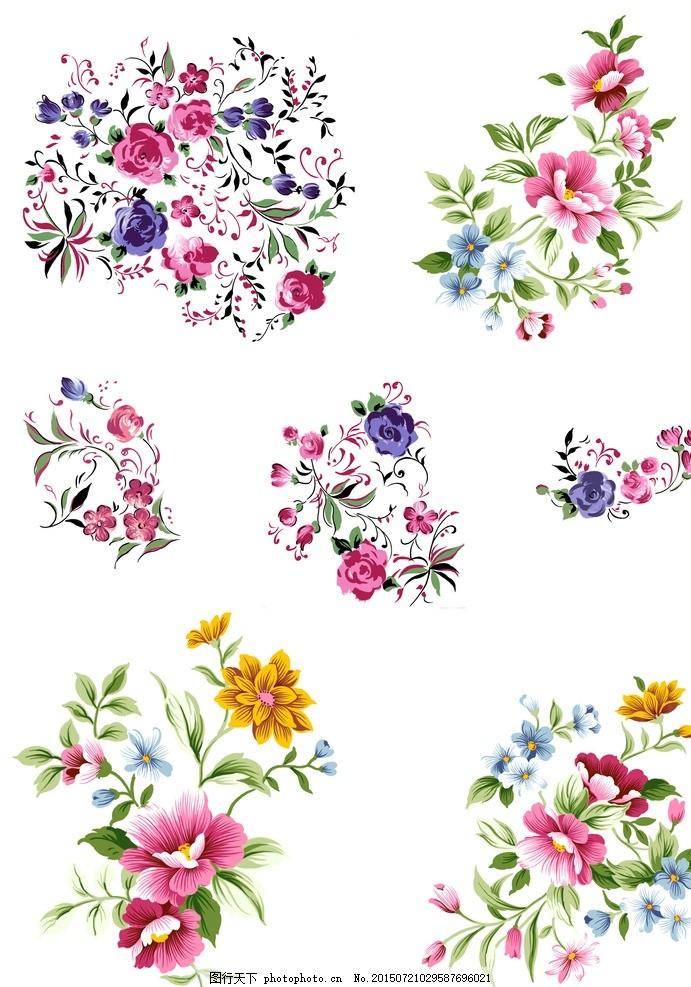 手绘花卉psd分层 手绘花朵 矢量花朵 花丛