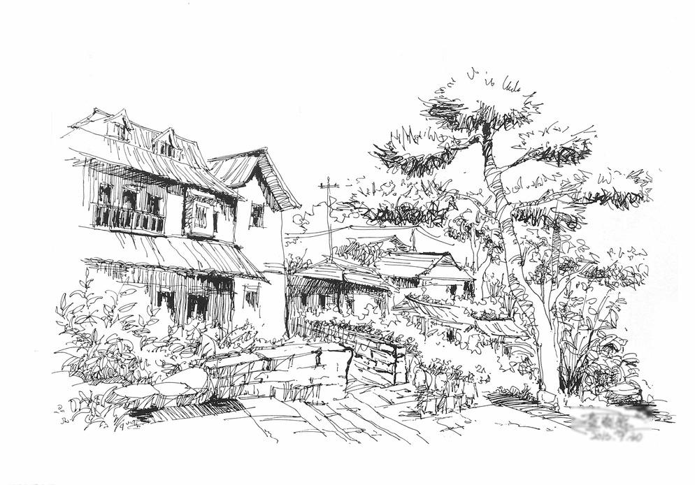 城市写生园林简笔画-城市写生