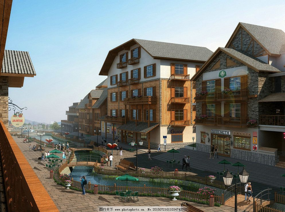 商业街图片免费下载 300dpi jpg 环境设计 建筑设计 欧式 商业街 设计