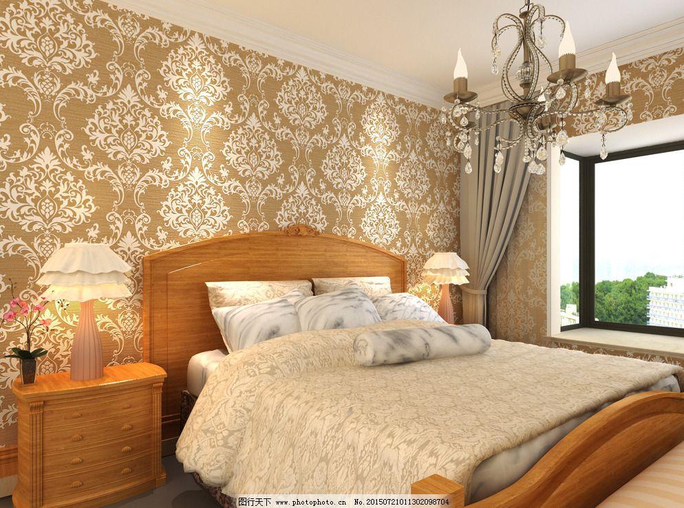 金黄壁纸 金黄壁纸图片免费下载 墙纸 室内设计 卧室 效果图 卧室