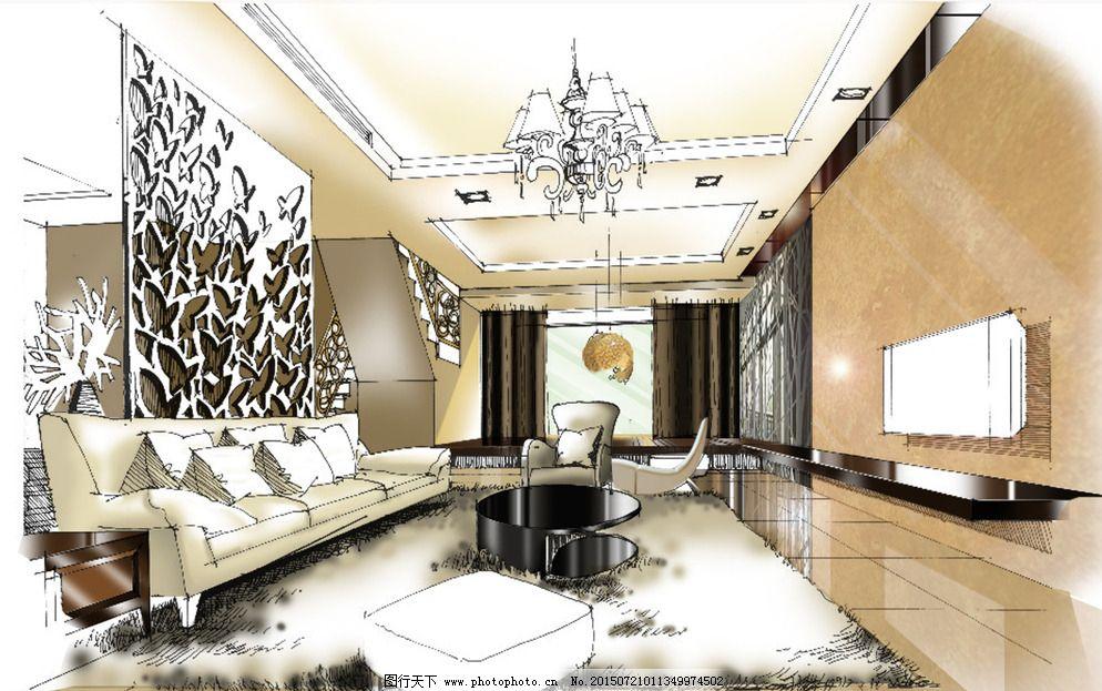 手绘客厅图片_室内设计
