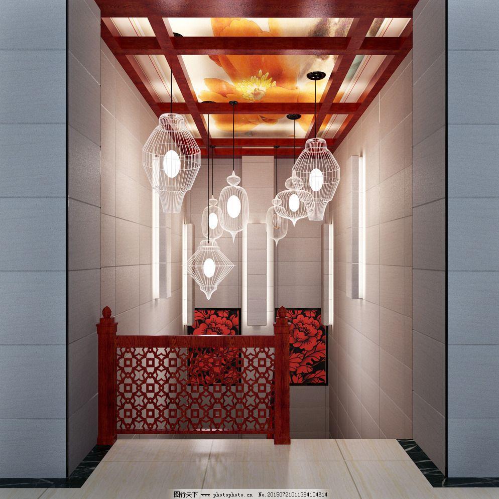 楼梯间 楼梯间图片免费下载 室内设计 效果图 新中式 楼梯间效果图