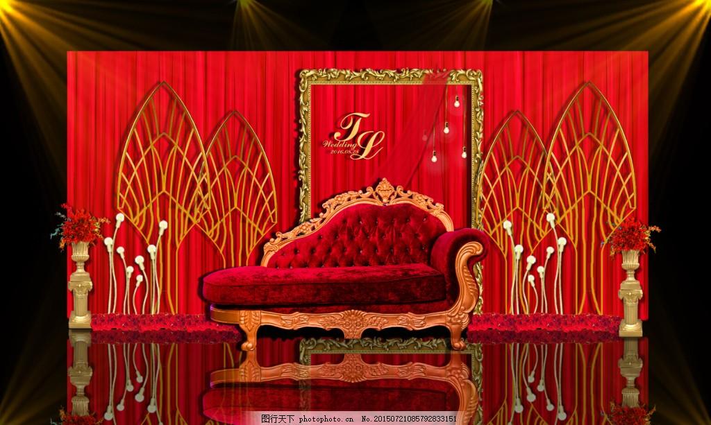 红色婚礼合影区,欧式 效果图-图行天下图库