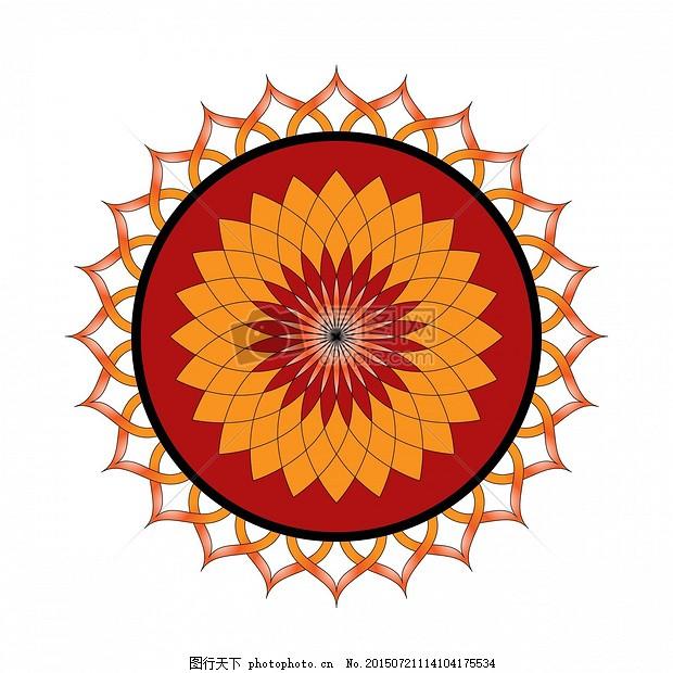 莲花 花 花的 橙色 红色 曼陀罗 饰品 装修 装饰 模式     jpg