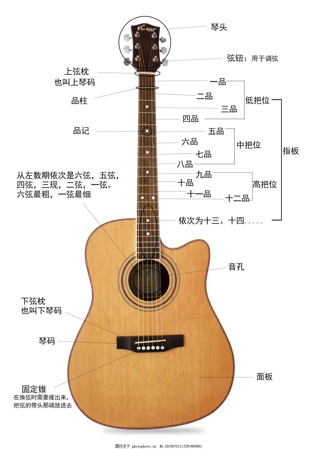 吉他 吉他结构图 乐器 音乐 白色