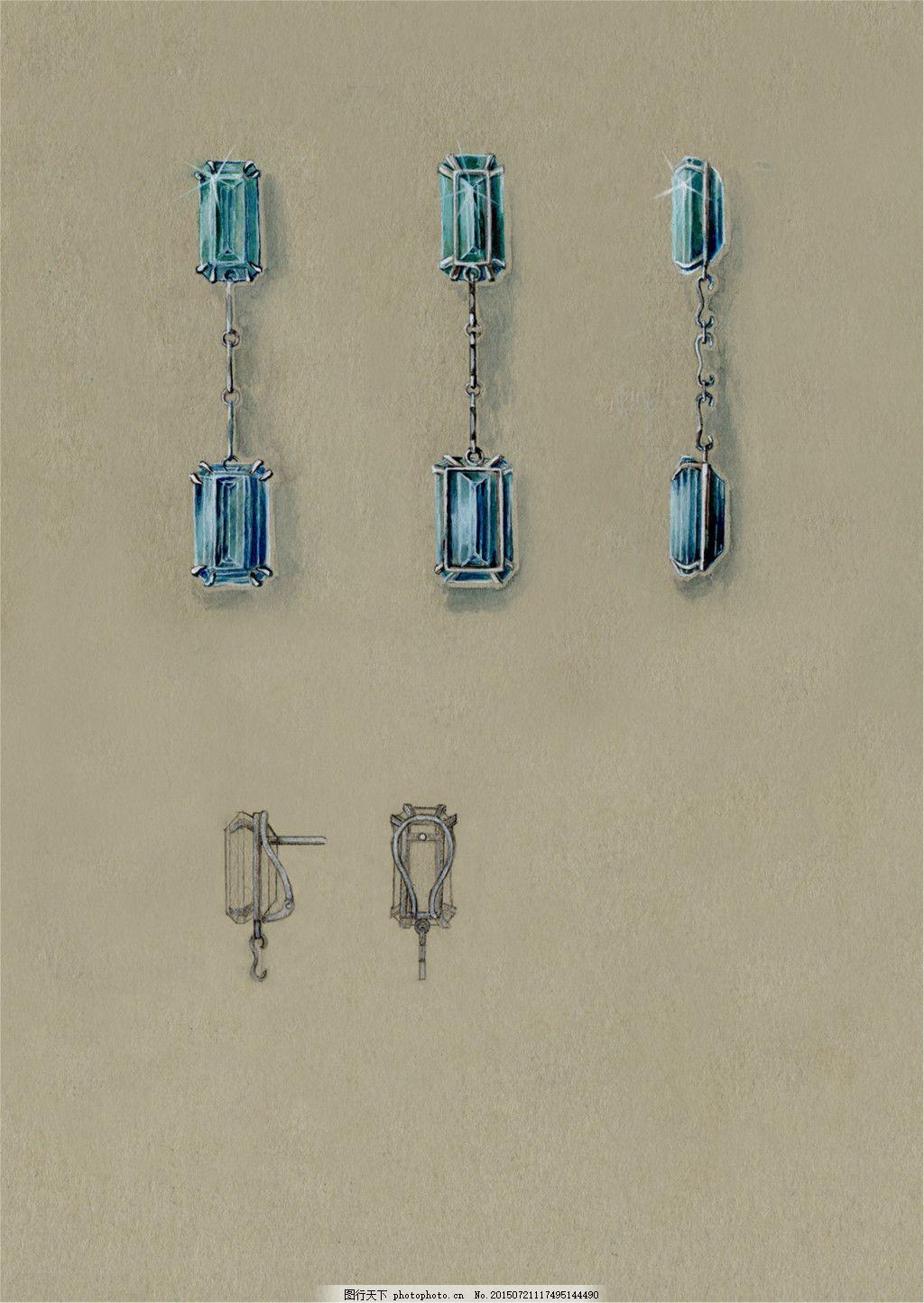 手绘珠宝图片素材 美丽 彩色 创意 时尚 灰色