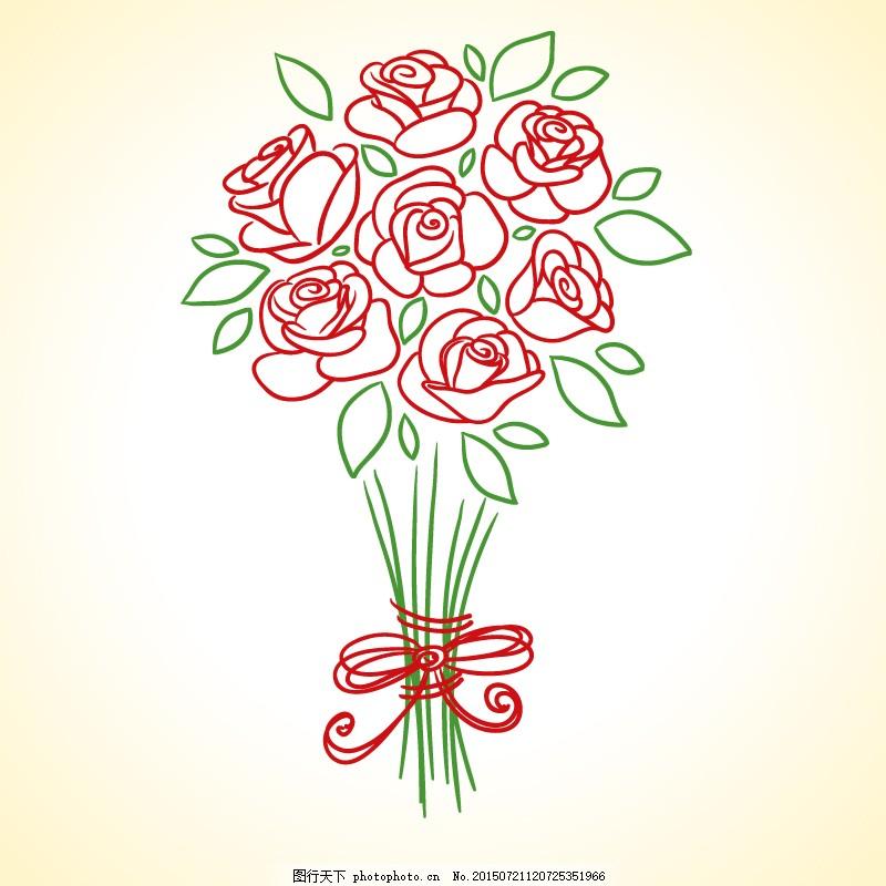 手绘红玫瑰花束矢量素材 手绘 花束 花卉 线描 情人节 爱情 ai 白色