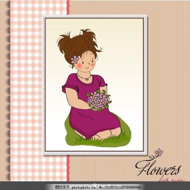 漂亮的女孩 框架 花手 花边 手绘 剪贴簿 花架 花束 美丽的画