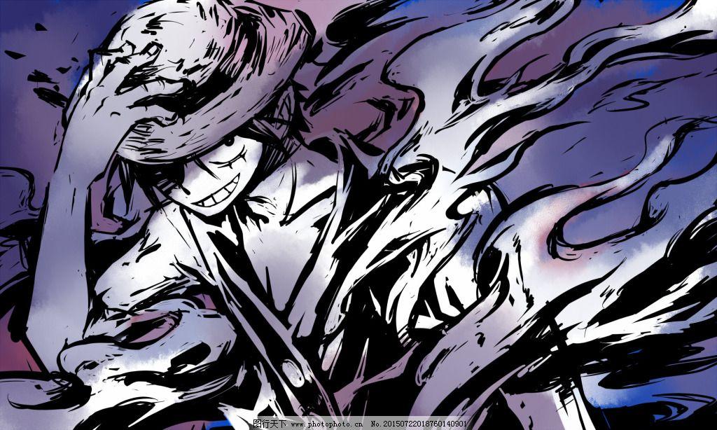 霸气 抽象 黑白 路飞 路飞 霸气 黑白 抽象 图片素材 卡通|动漫|可爱
