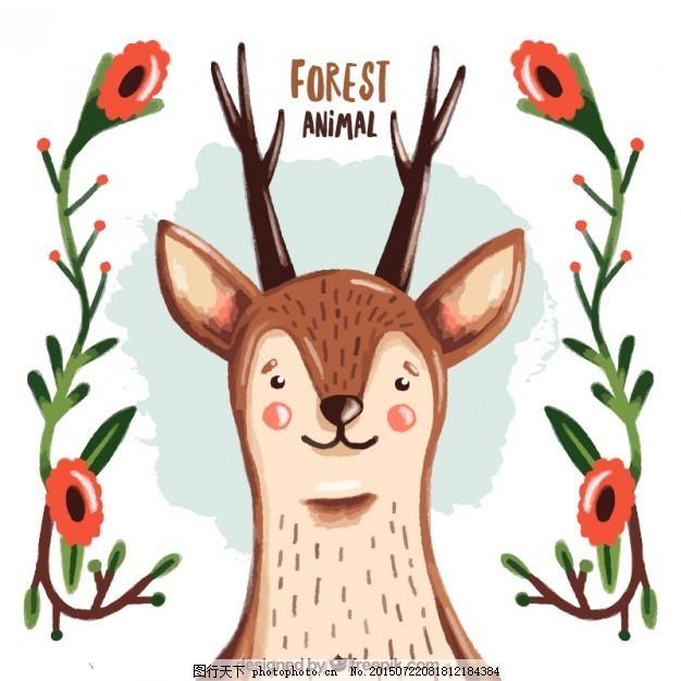 用花的细节画漂亮的鹿 花卉 水彩画 手工 自然 动物 人物 森林 可爱