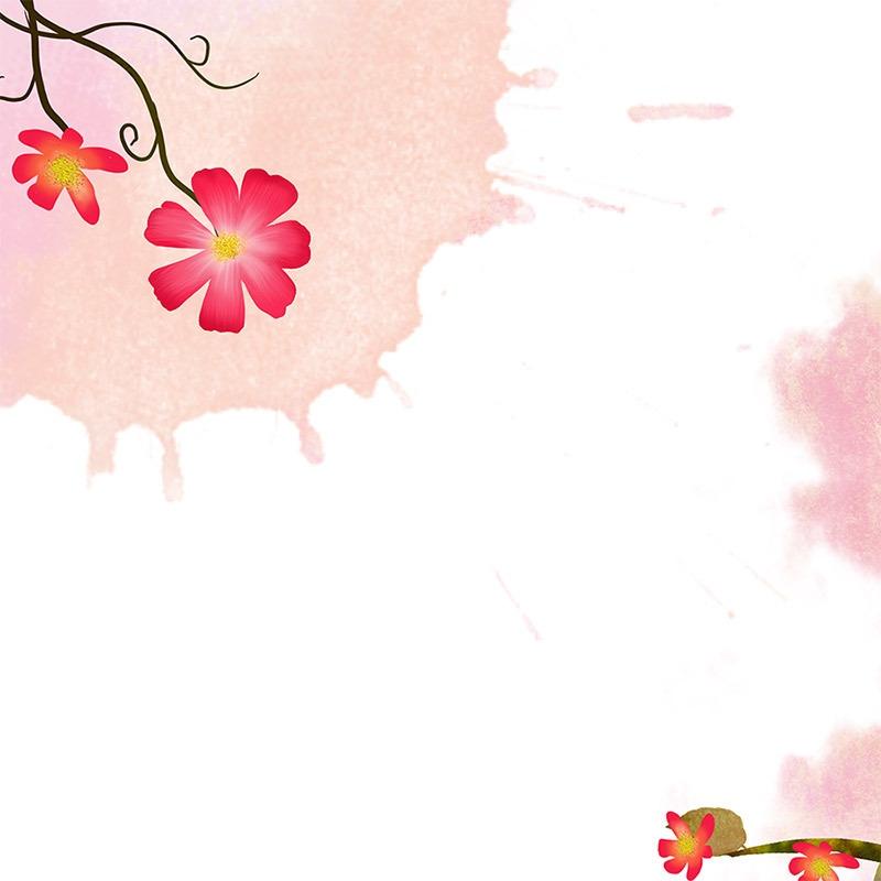 小清新花朵背景 唯美花朵 水墨花朵 手绘背景 psd 白色
