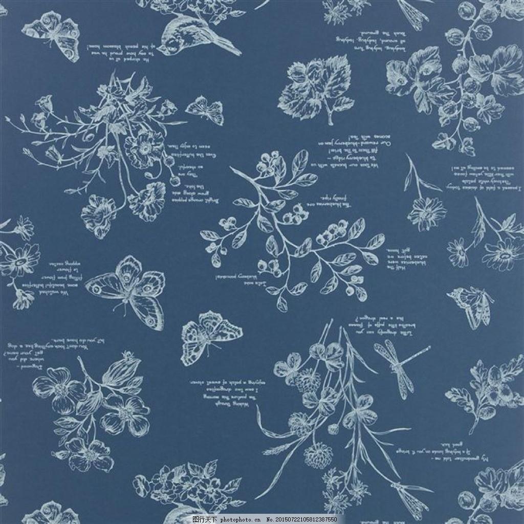 人文花卉 面料花型 手绘花卉 蓝色