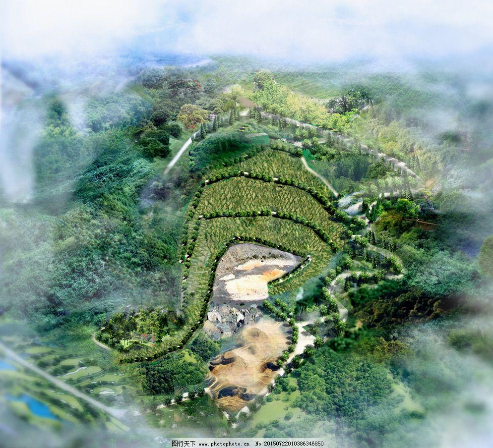 园林手绘平面山坡