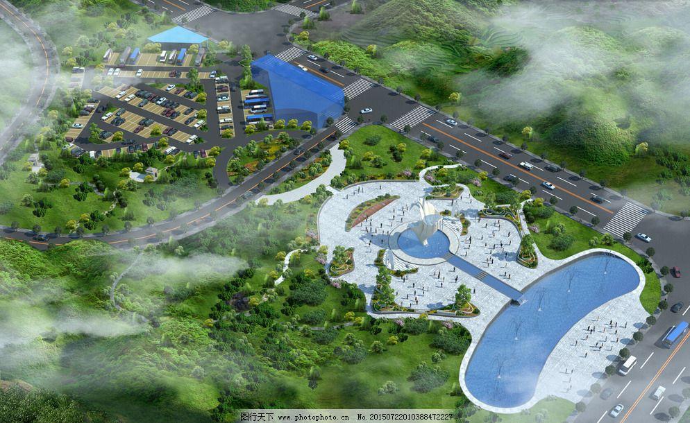 jpg 花池 环境设计 景观设计 设计 水景 停车场 金蟾鸟瞰图 生态广场