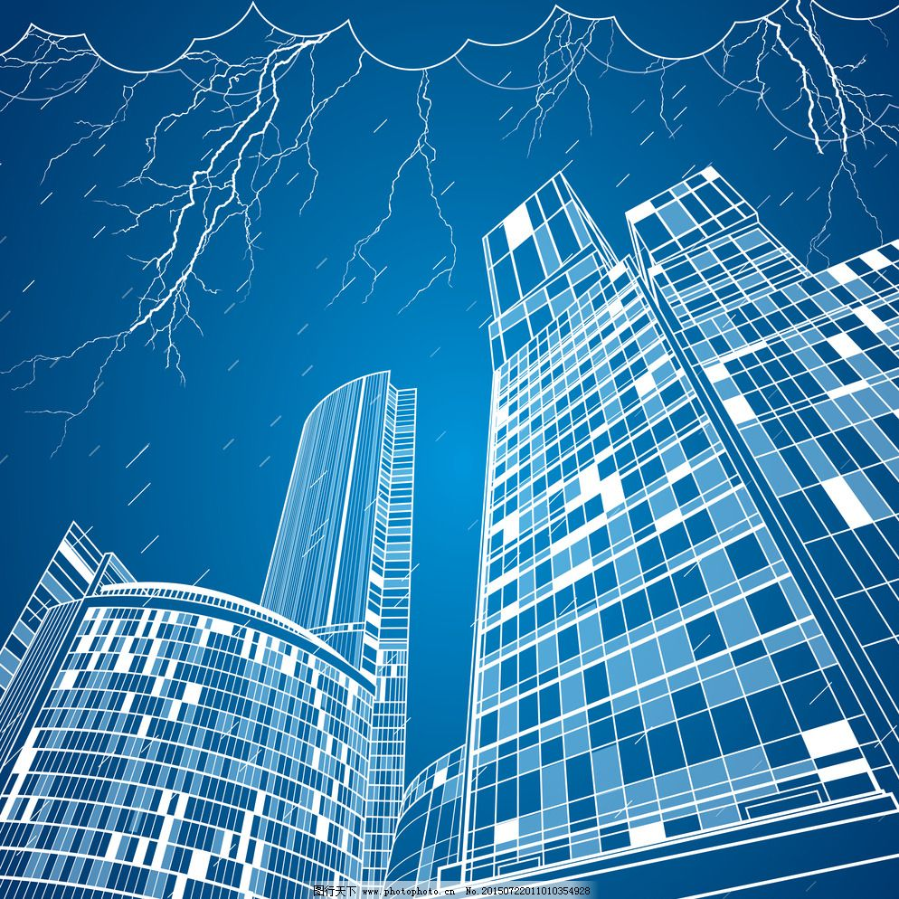 环境设计 建筑家居 手绘建筑 都市 城市 高楼 闪电 国外建筑 楼房