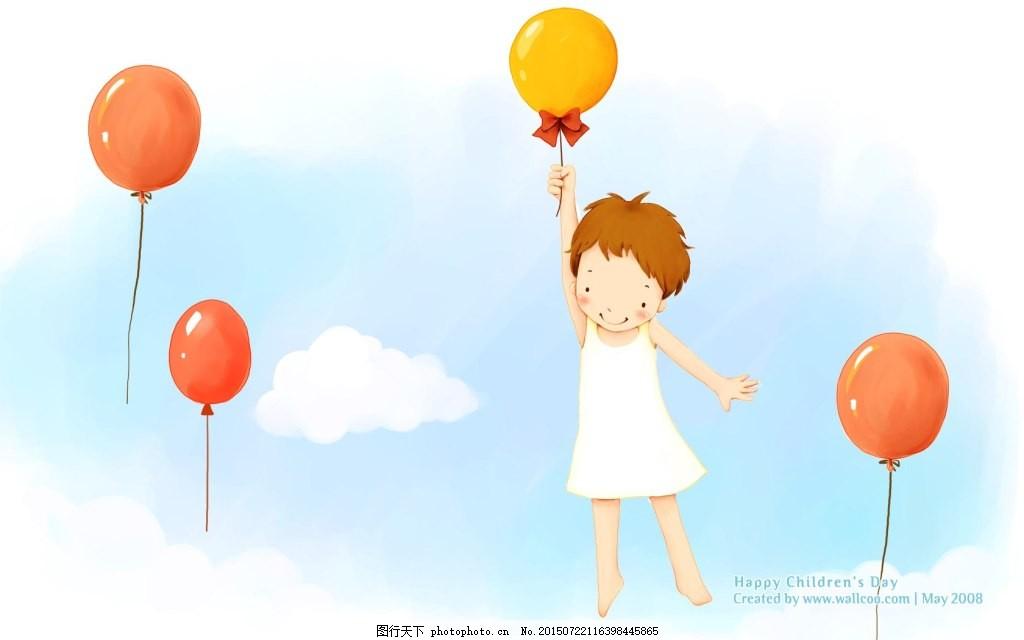 手绘 插画 壁纸 梦幻 可爱 儿童 蓝天 白云 气球     白色 jpg