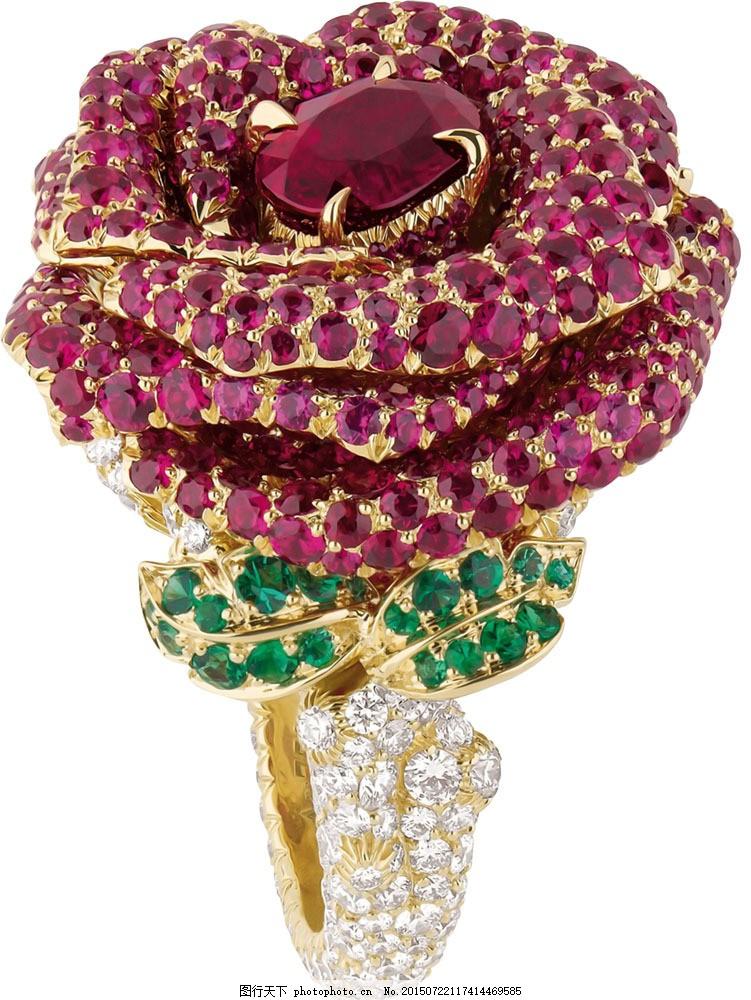 漂亮的玫瑰花戒指 首饰 钻石 金色 彩色 金属 黄金 珠宝服饰