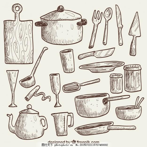 手绘厨房用品
