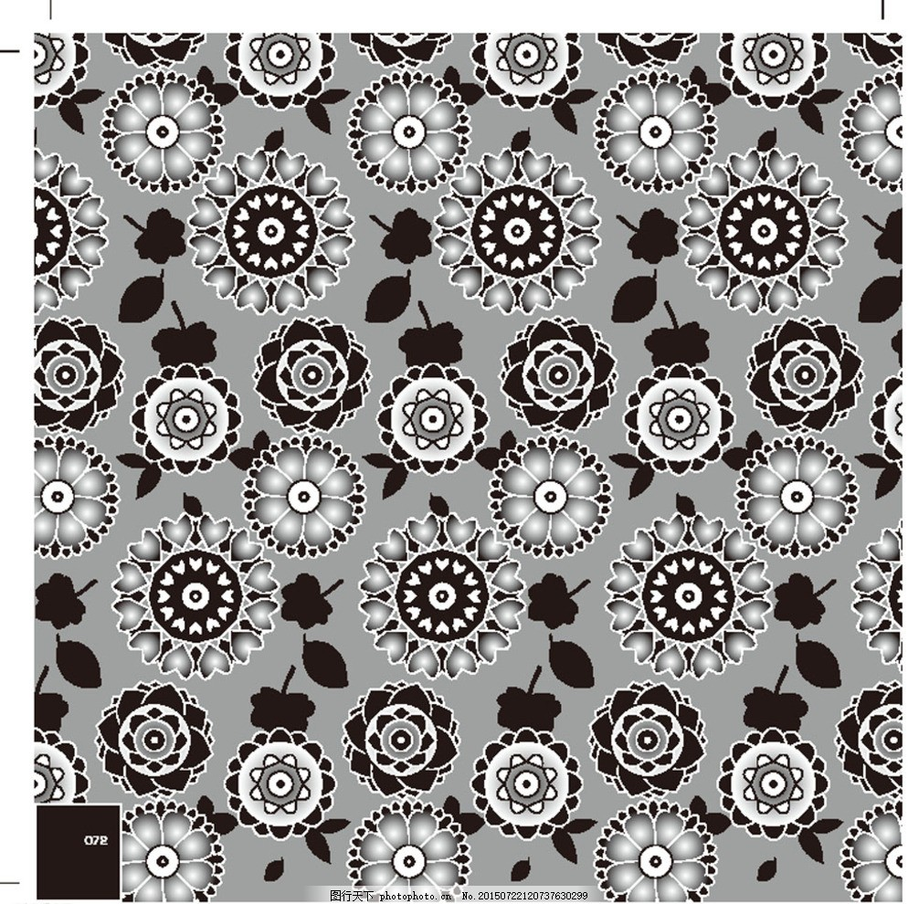 黑白花纹 底纹 几何 布纹印花 背景图案 纹路 渐变 网格 欧式