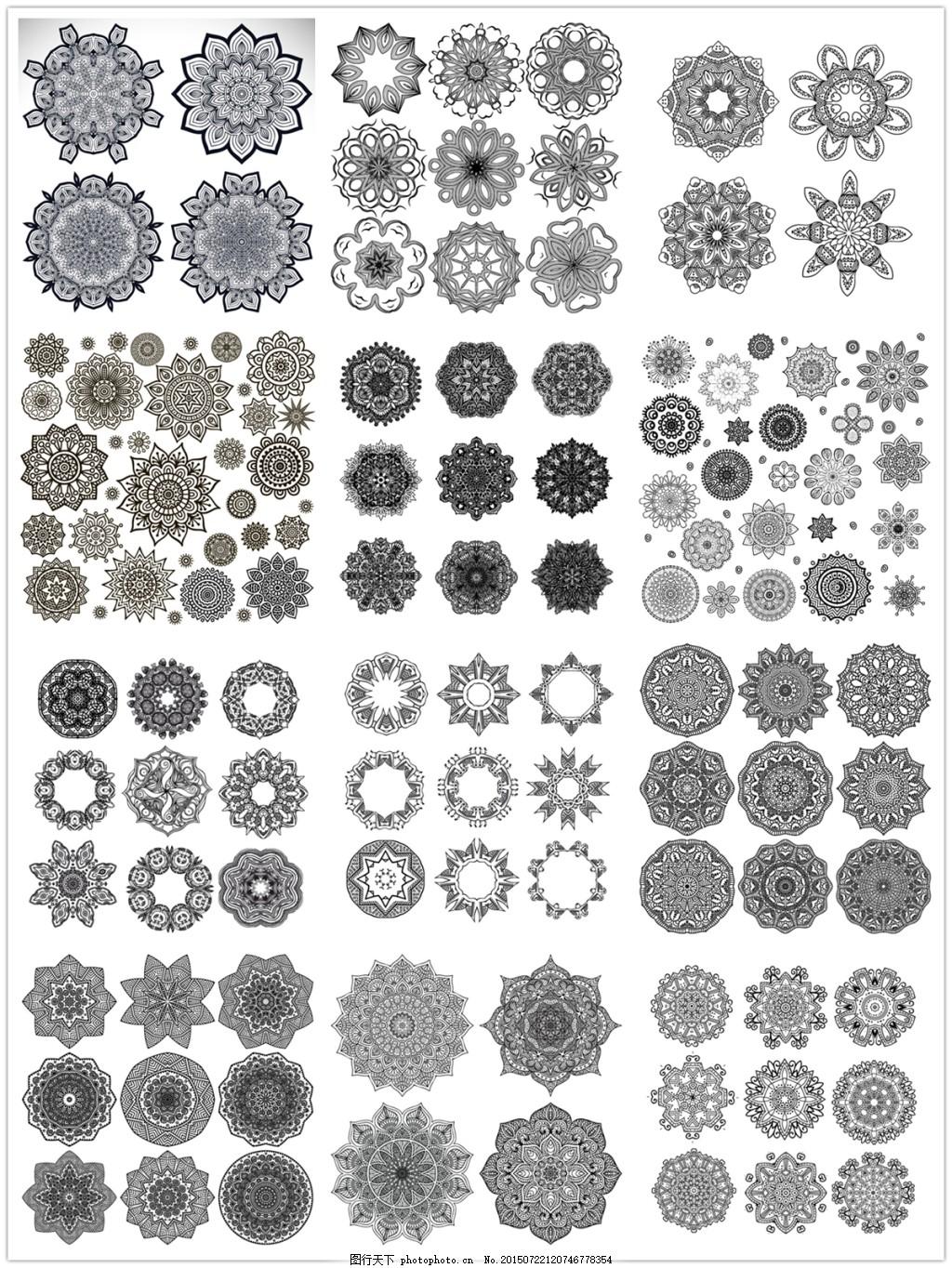 圆形印花花纹 对称花纹 黑白花纹 花纹装饰 欧式花纹 圆环边框