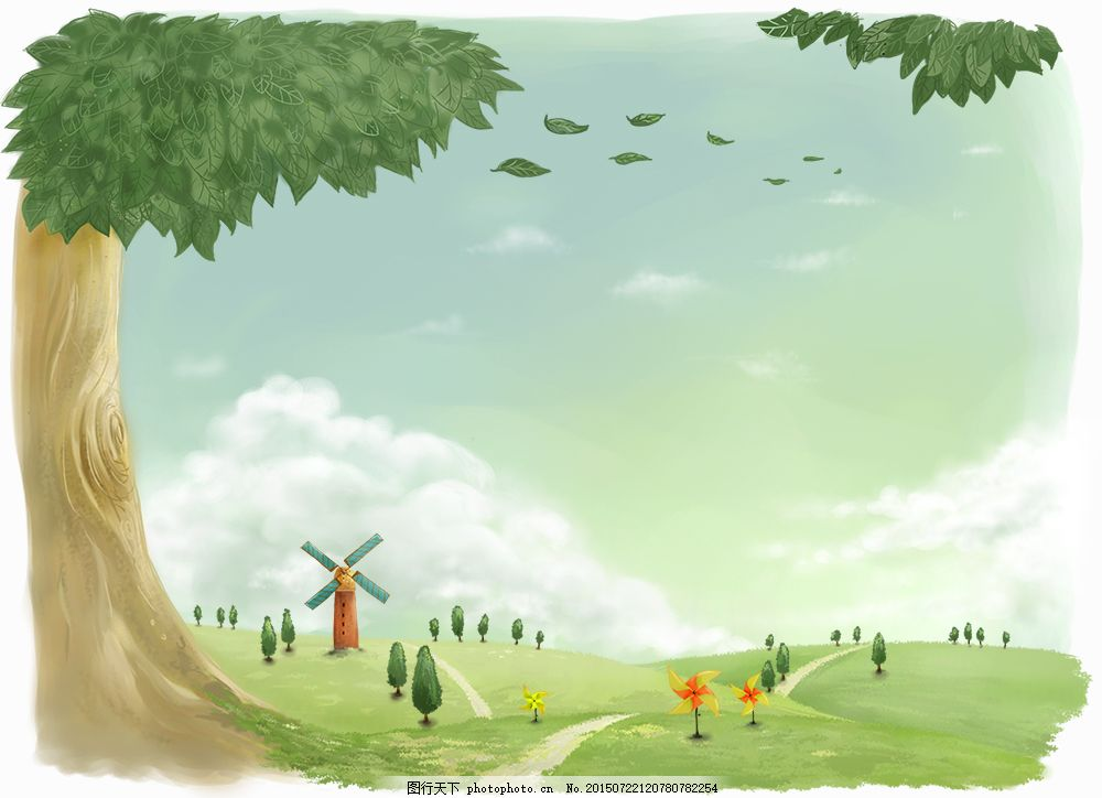 风车草原大树 插画 手绘 边框 卡通画 油画 水粉画 房子 公园 原画师
