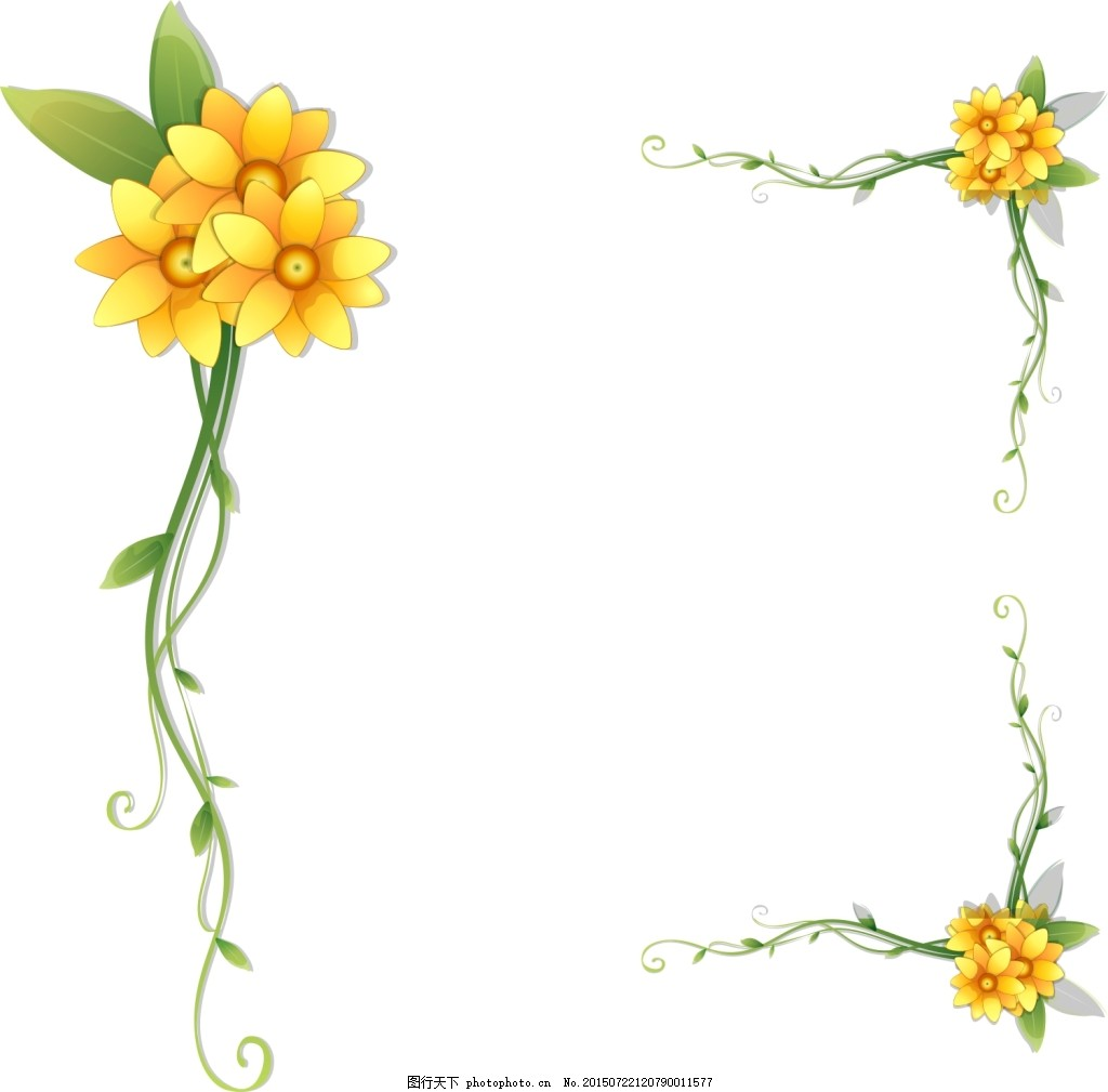 手绘花绿叶花边矢量图