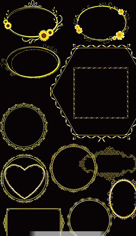 矢量 底纹边框 花边花纹 eps 海报设计 边框相框 300dpi psd 黑色 psd
