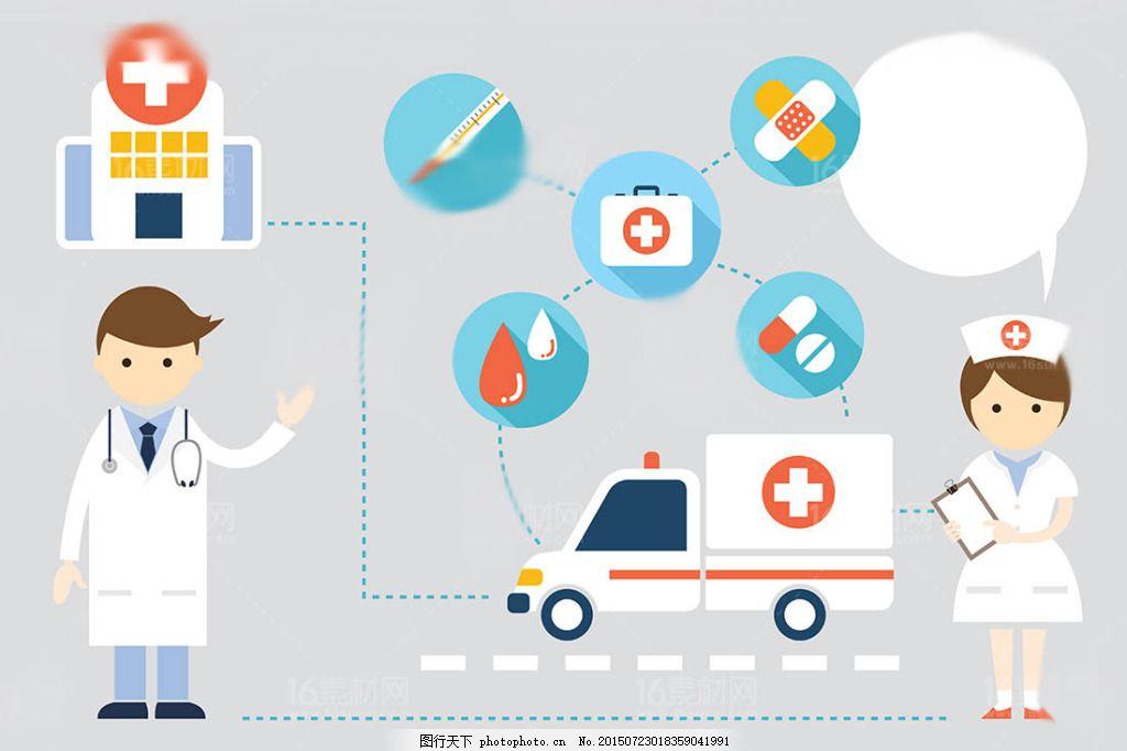时尚卡通医生人物设计矢量素材 护理护士 医疗图标扁平化人物人物插画