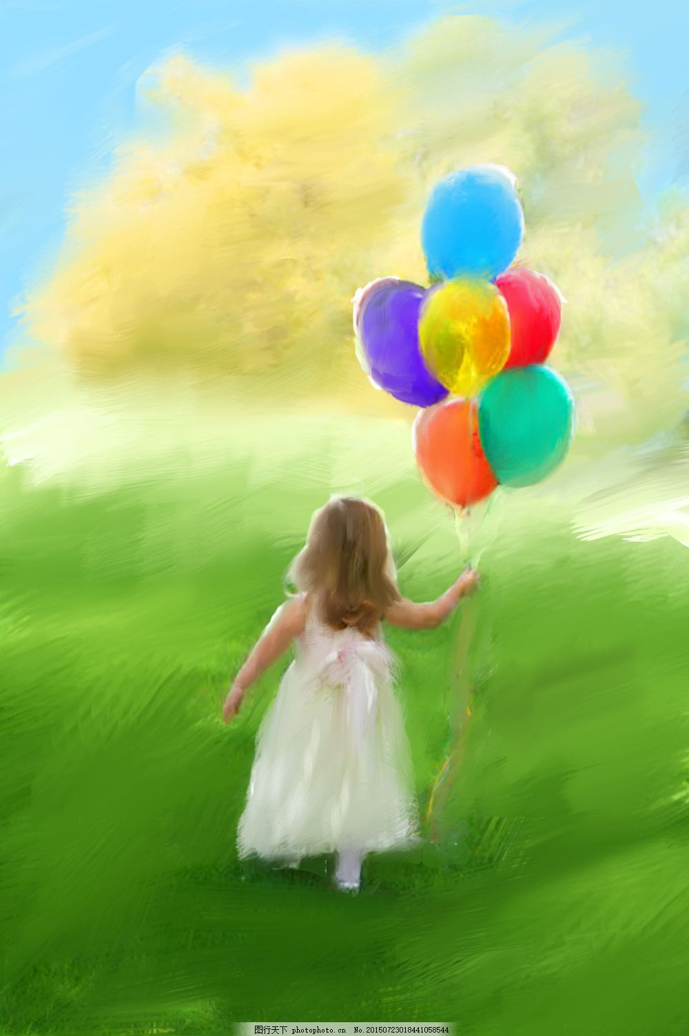 气球女孩 女孩 少女 气球 小清新 文艺 治愈 水粉 画 风景 psd 绿色