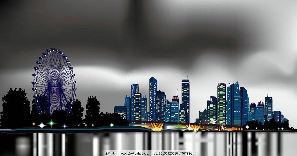 城市风光 夜景 天空 月亮图片