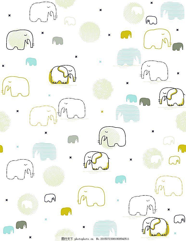卡通动物背景 底纹背景 背景 花纹背景 插画 卡通动物 手绘 大象 底纹