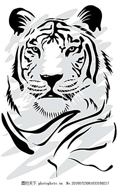 矢量老虎 插画 猛虎 动物插画 时尚花纹 时尚潮流 背景图案 矢量花纹