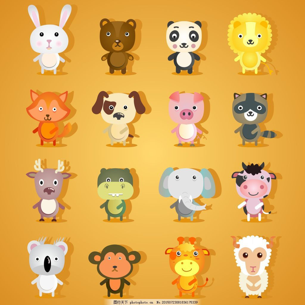可爱小动物 可爱 卡通 小动物 小羊 小兔 小猪 熊猫 狮子 大象 ai