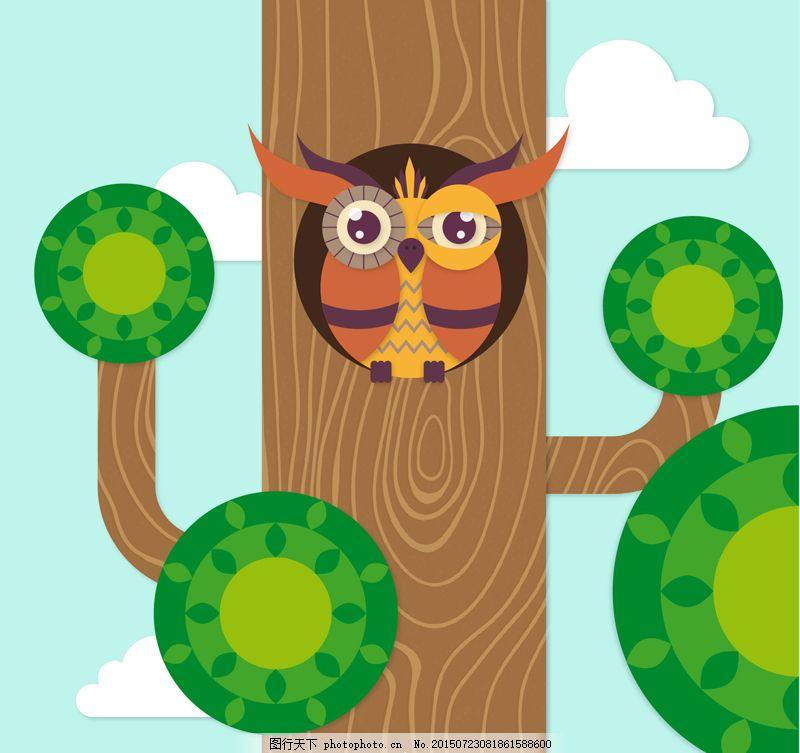 卡通树洞里的猫头鹰