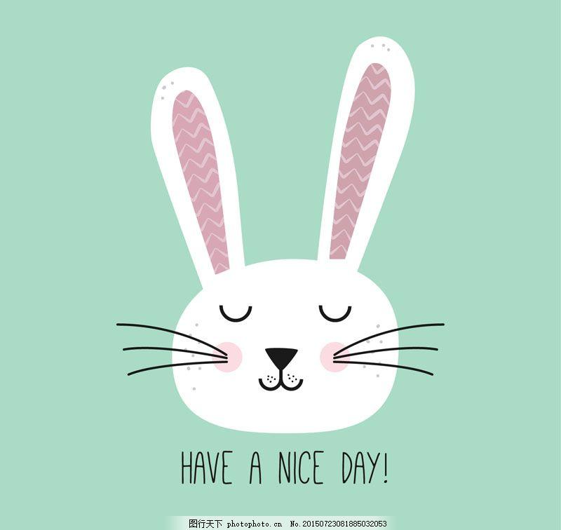 可爱的兔子 可爱 卡通 兔子      eps 青色 天蓝色 eps