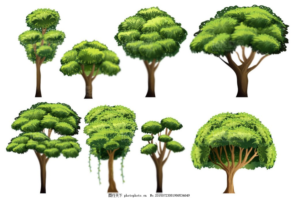 精美大树树木设计矢量素材 绿植 绿树 绿叶 树木树林四季树花草树木