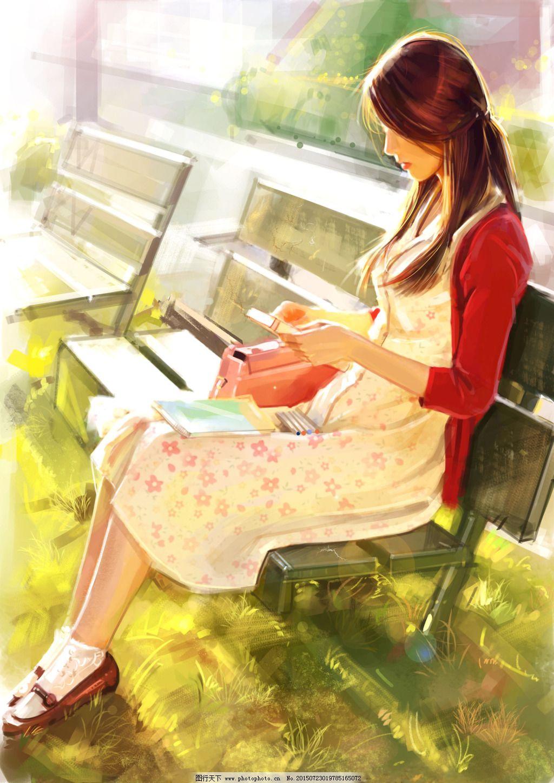 手绘阳光下的女人插画