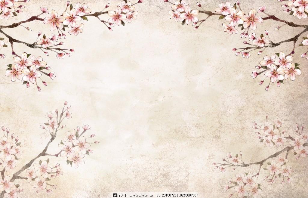 手绘长方形边框梅花